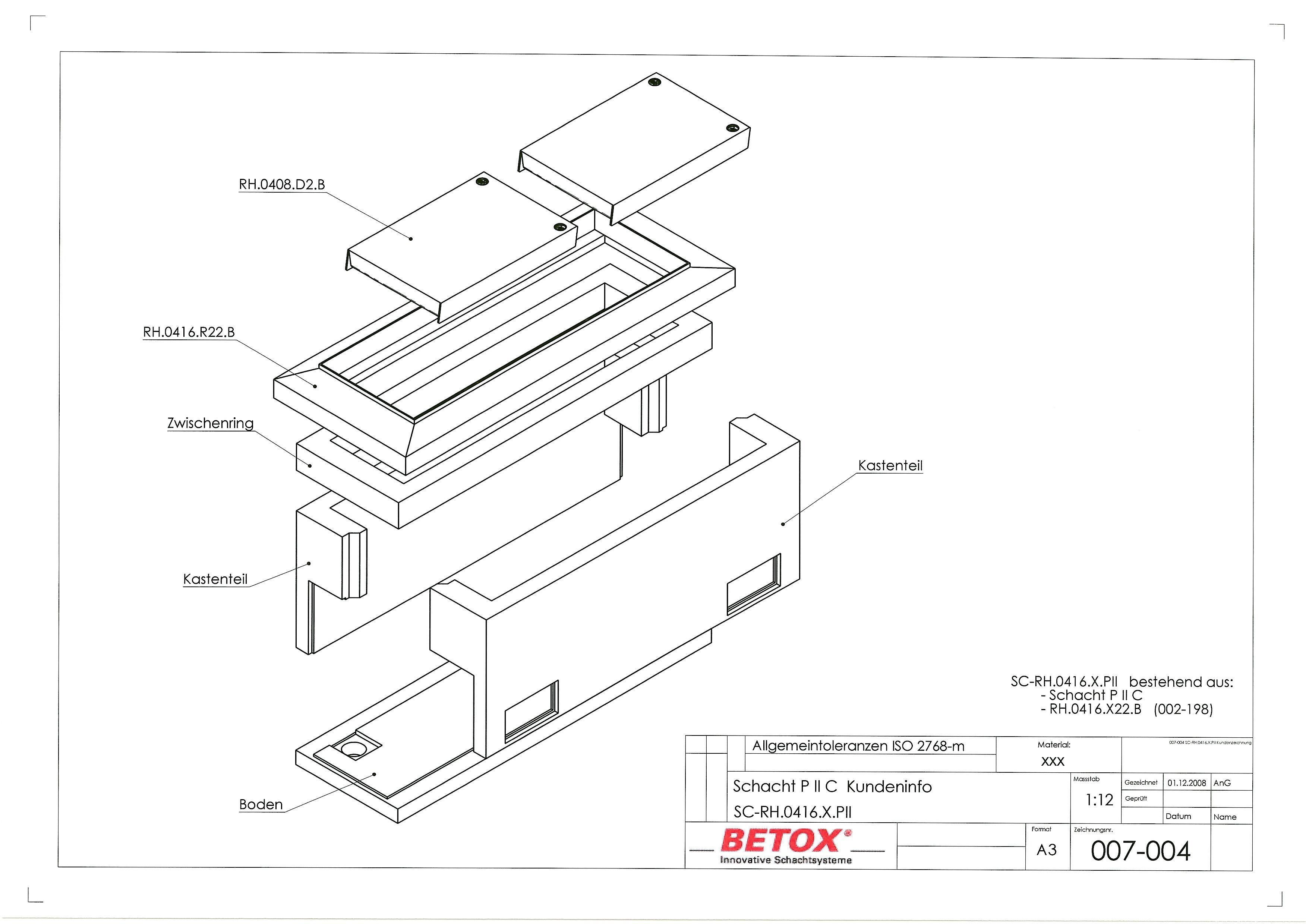 SC-RH.0416.X.PII geteilt RhomboX RH.0416.XB, Schacht D400 Innenmass 42x156, Distanzring, Boden