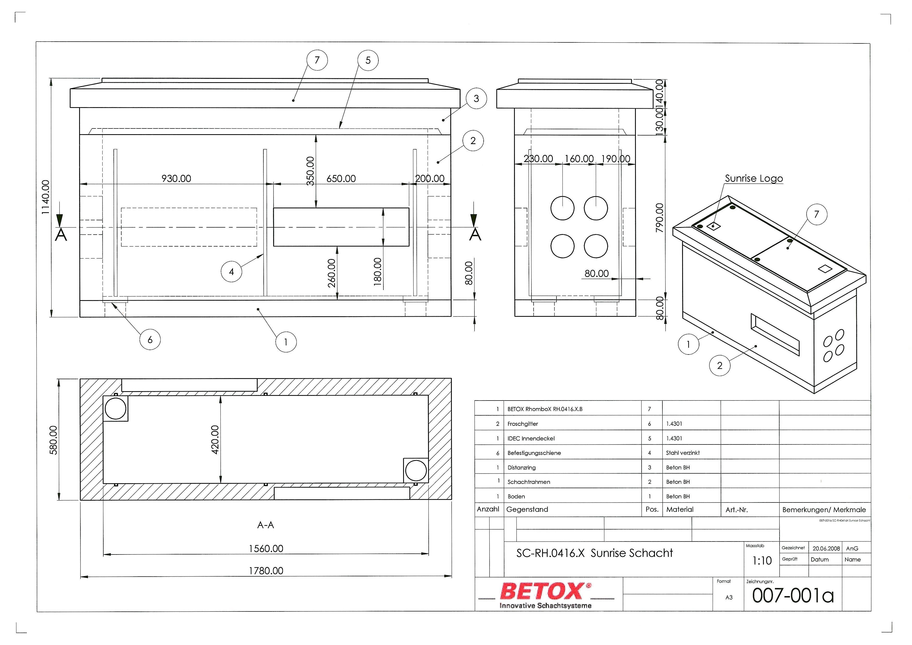 SC-RH.0416.X.Sunrise RhomboX RH.0416.XB, Schacht D400 Innenmass 42x156, Distanzring, mit Boden