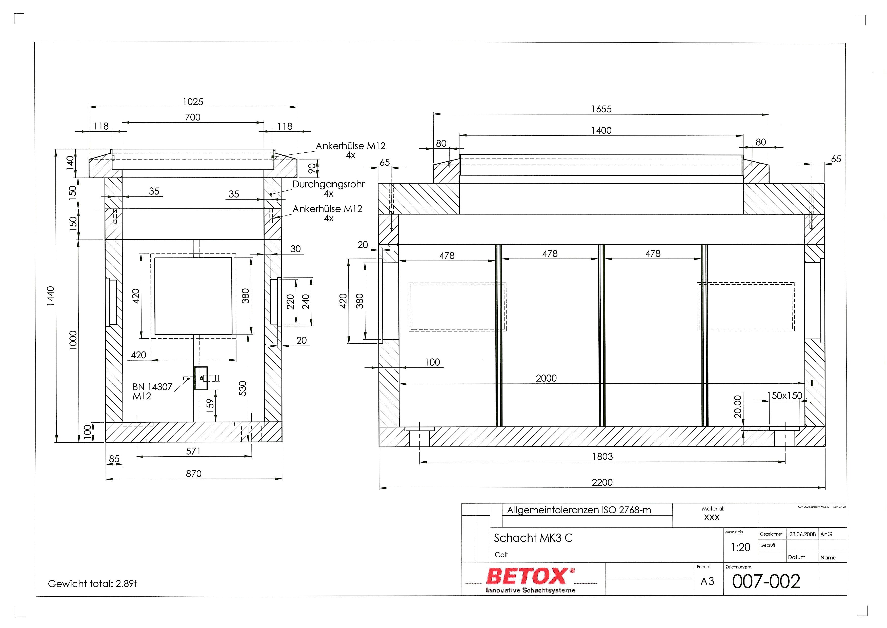 SC-RH.0714.X.MK3 RhomboX RH.0714.XB, Schacht D400 Innenmass 70x200, Distanzring, mit Boden separat
