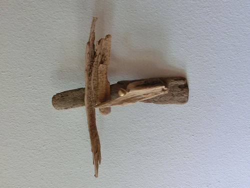 Treibholz Wood Art Deco Herrgott Kreuz Cross God klein small