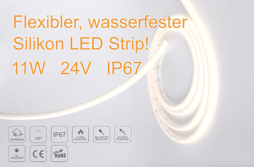 Flexibler Silikon Outdoor LED Strip - LLA1615/ 12W/3000K/IP67