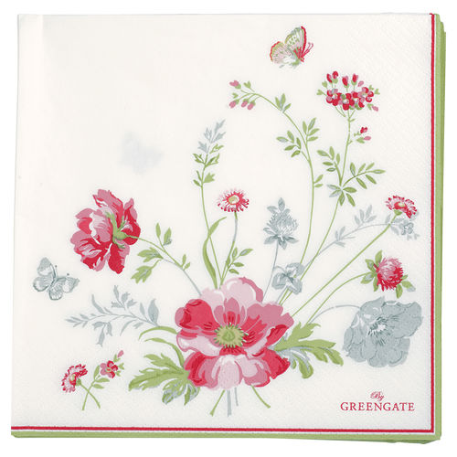 "Papierservietten ""Meadow"" (white) von GreenGate. Paper napkin large"