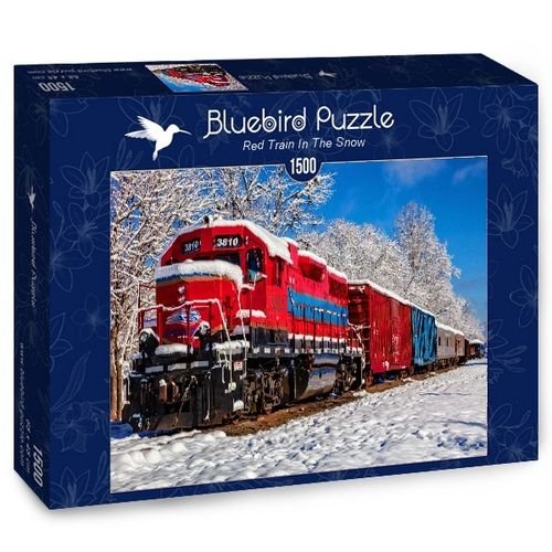 Bluebird - Red Train in the Snow - 1500 Teile
